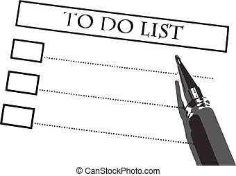 check list with pen on white background