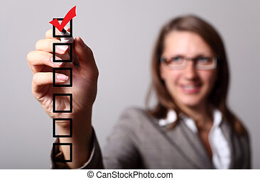Check list with red mark - Image of a check list with red...