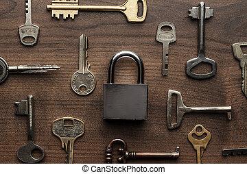 check-lock, y, diferente, llaves, concepto