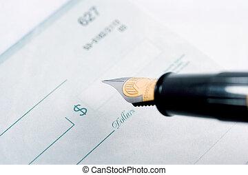 Check - Macro of a check and fountain pen