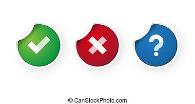 check mark and cancel stickers icon