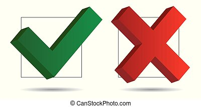 Check mark and cross icons 3D - Vector