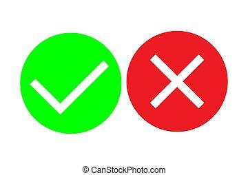Check mark and cross mark vector