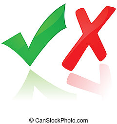 Glossy illustration showing a green check mark and a red X