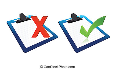 check mark and x mark clipboards