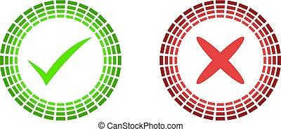 Check mark and X mark icon vector