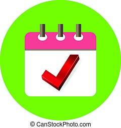 Check Mark Appointment in Agenda Icon Illustration