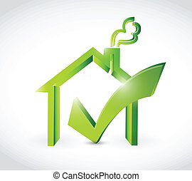 check mark approve home illustration design over a white...