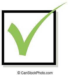 Check mark - Check box with green check mark isolated on...
