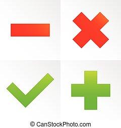 Check mark, cross, plus, minus sign set. vector