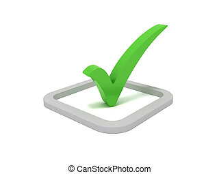 Check mark - 3D rendering of a green check mark