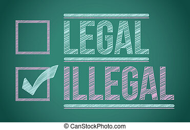 check mark for illegal selection illustration design over a...