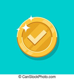 Check mark gold coin vector icon. Flat cartoon golden metal money isolated on blue background.