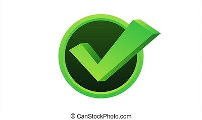 Check mark. Green approved star sticker on white background.  stock illustration