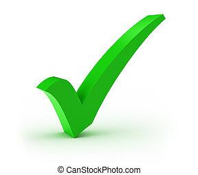Check Mark - Green check mark over white background
