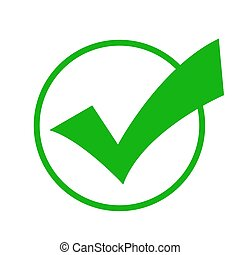Check mark green colored in the circle. Vector