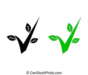 Check Mark Green Leaf Environment Icon Vector Logo Template