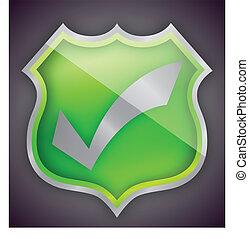 Check mark green shield