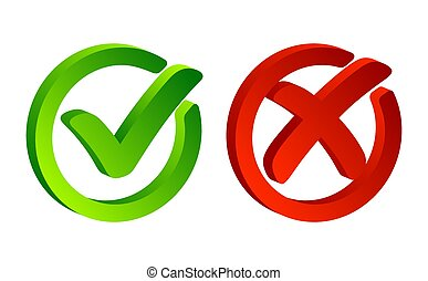 Check mark. Green tick symbol and red cross sign in circle. Icons for evaluation quiz. Vector.