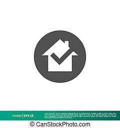 Check Mark Home Icon Vector Logo Template Illustration Design. Vector EPS 10.
