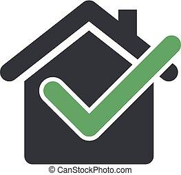 Check Mark Home or House Icon Logo Template Illustration Design. Vector EPS 10.