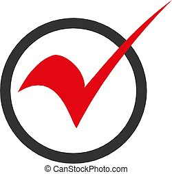 check mark icon in a circle, vector illustration.