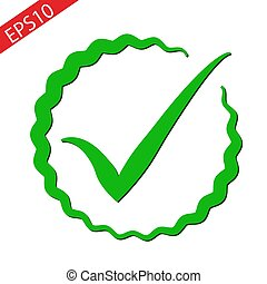 Check mark icon in flat style. Ok, accept vector illustration on white isolated background. Tick business concept. eps10