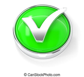 Check mark icon on glossy green round button