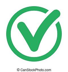 Check mark icon on white background.