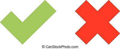 Check mark icons. Green tick and red cross. Flat vector...