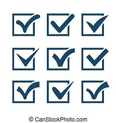 Check mark icons isolated on white background