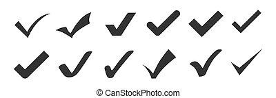 Check mark icons set isolated on white.