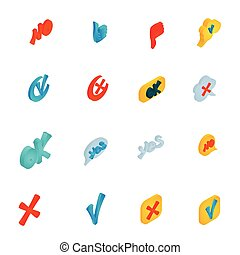 Check mark icons set, isometric 3d style