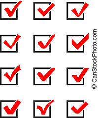 Check mark icons - Set of twelve different vector check...