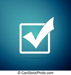 Check mark in a box icon isolated on blue background. Tick symbol. Check list button sign. Flat design. Vector Illustration