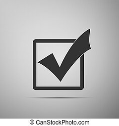 Check mark in a box icon isolated on grey background. Tick symbol. Check list button sign. Flat design. Vector Illustration