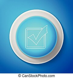 Check mark in a box line icon isolated on blue background. Tick symbol. Check list button sign. Circle blue button. Vector Illustration