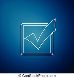 Check mark in a box line icon isolated on blue background. Tick symbol. Check list button sign. Flat design. Vector Illustration