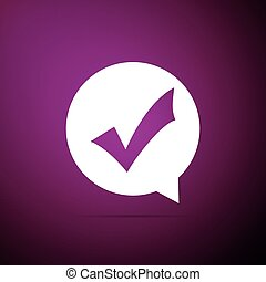 Check mark in circle icon isolated on purple background. Choice button sign. Checkmark symbol. Flat design. Vector Illustration