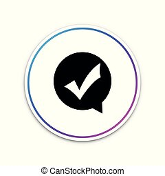 Check mark in circle icon isolated on white background. Choice button sign. Checkmark symbol. Circle white button. Vector Illustration