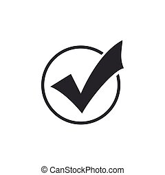 Check mark in round icon isolated. Check list button sign. Flat design. Vector Illustration