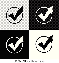 Check mark in round icon isolated on black, white and transparent background. Check list button sign. Vector Illustration