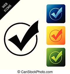 Check mark in round icon isolated on white background. Check list button sign. Set icons colorful square buttons. Vector Illustration