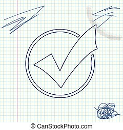 Check mark in round line sketch icon isolated on white background. Check list button sign. Vector Illustration