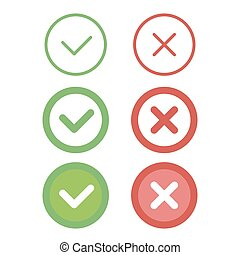 Check mark line icons set. Vector illustration