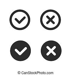 Check mark line icons set. Vector illustration