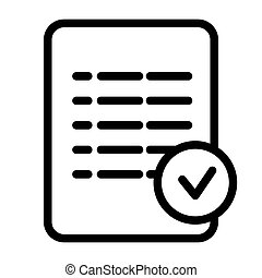Check mark list line icon. Checklist vector illustration isolated on white. Document outline style design, designed for web and app. Eps 10.