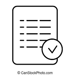 Check mark list thin line icon. Checklist vector illustration isolated on white. Document outline style design, designed for web and app. Eps 10.