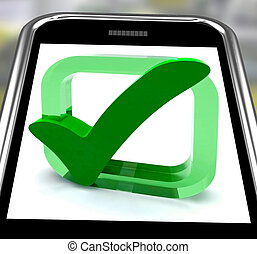 Check Mark On Smartphone Showing Approval