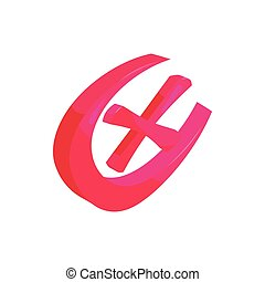 Check mark or cross in a circle icon cartoon style